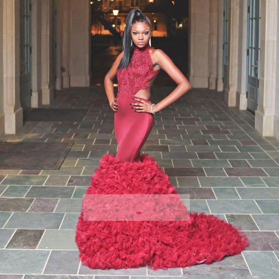 Burgundy negras africanas sereia Vestidos de baile longo alta Neck Lace Applique Sexy Backless vestidos de noite formal Vestido Pageant