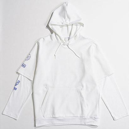 Homens das mulheres com capuz Sweatershirt Marca Pullover Outwear Casacos Falso 2 Peças Hiphop Streetwear Designer de Manga Longa Esporte B100006L