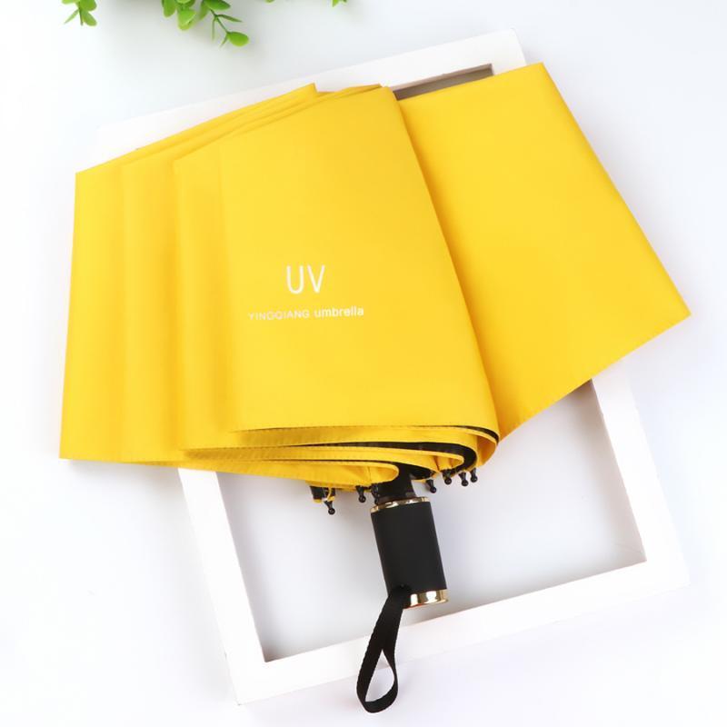 Regenschirm Schwarz Kunststoff Sonnenschutz Rainy Regenschirm für Frauen Ombrello Pieghevole UV-Schutz Sonnenschirm Damen Parasol HH50YS