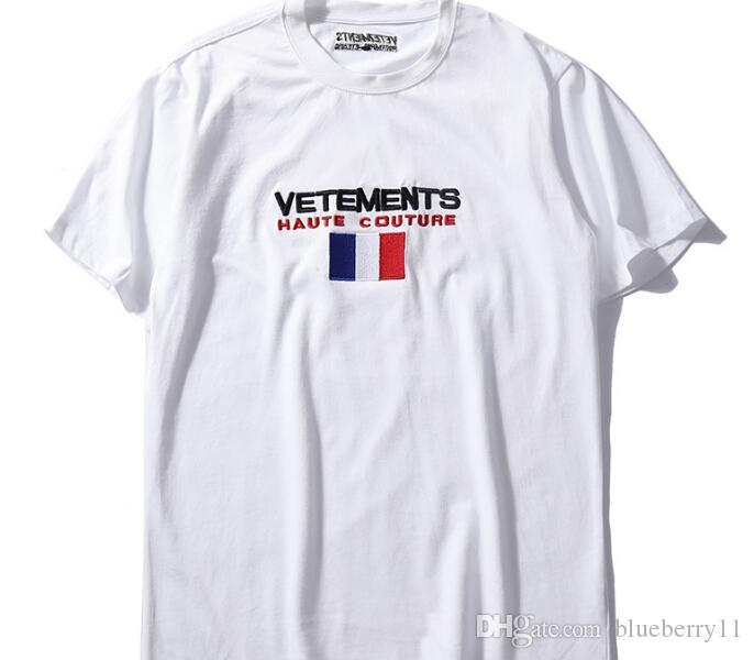 Summer Cotton T Shirt Vetements Embroidery White Casual O Neck Short Sleeve Hip Hop T Shirts Top Tees