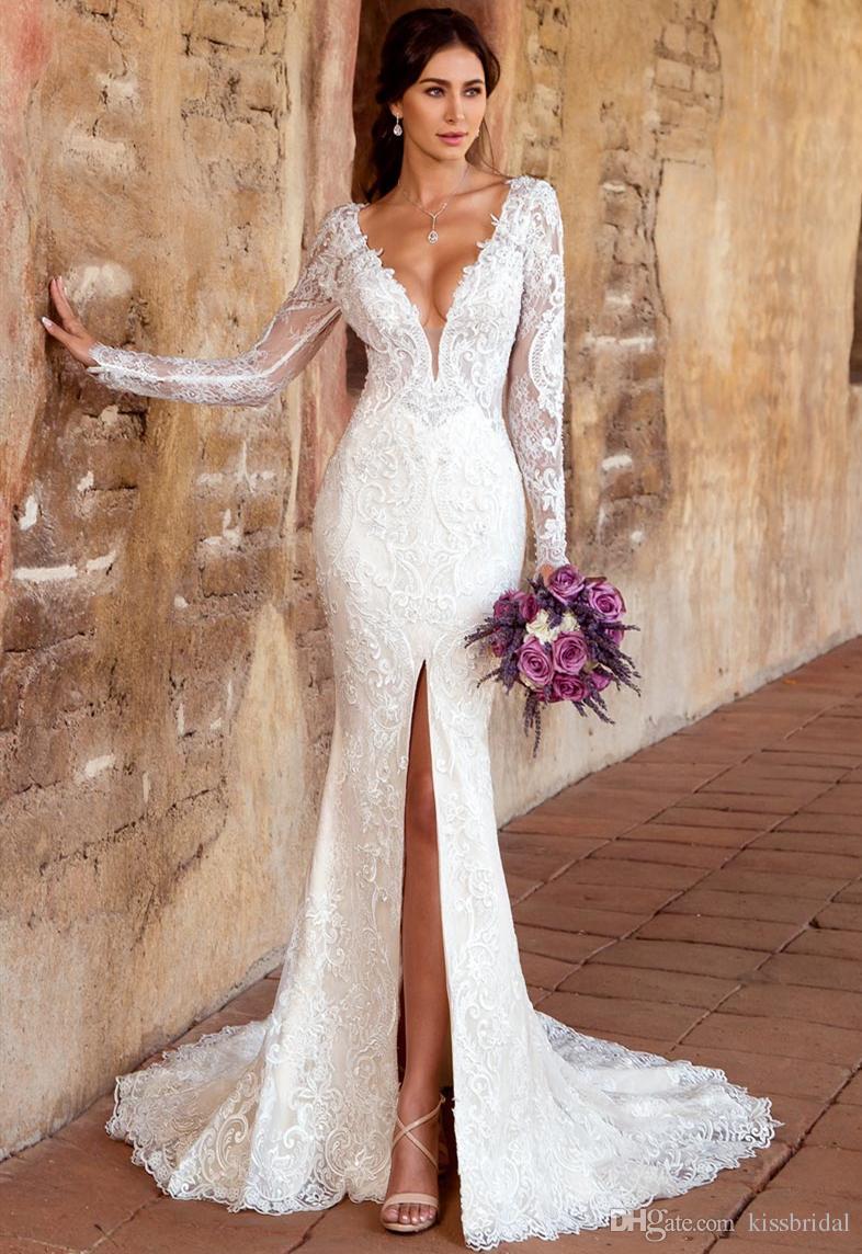 Abiti Da Sposa Sirena.Vestido De Novia Mermaid Wedding Dresses With Long Sleeve V