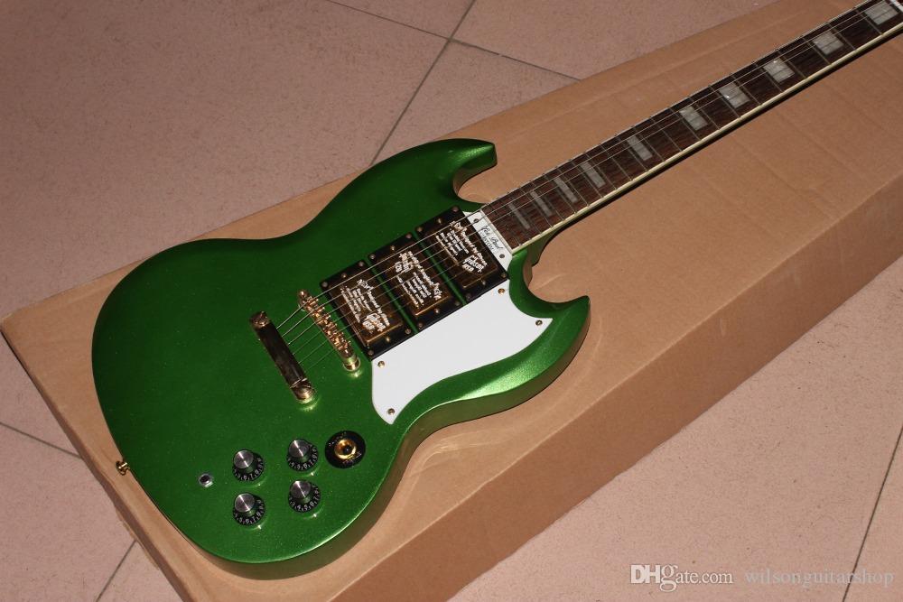 Novo padrão personalizado SG guitarra cor guitar.green elétrico. gitaar hardware ouro. 3 pickups.rosewood escala.
