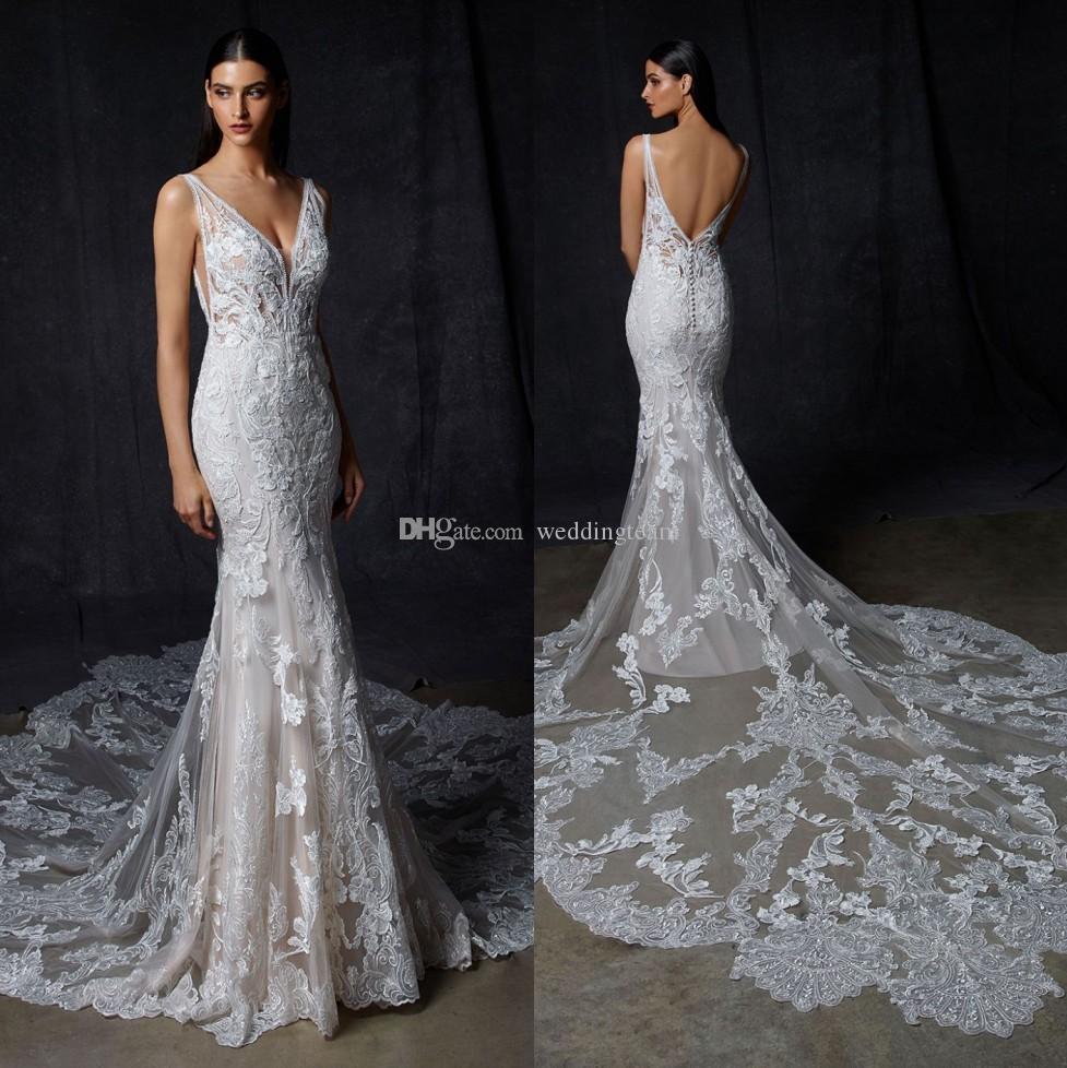 Classy Nixe-Spitze-Backless Brautkleider Sheer Tauchen Ansatz Appliqued Brautkleider Plus Size Sweep Zug Roben de mariée
