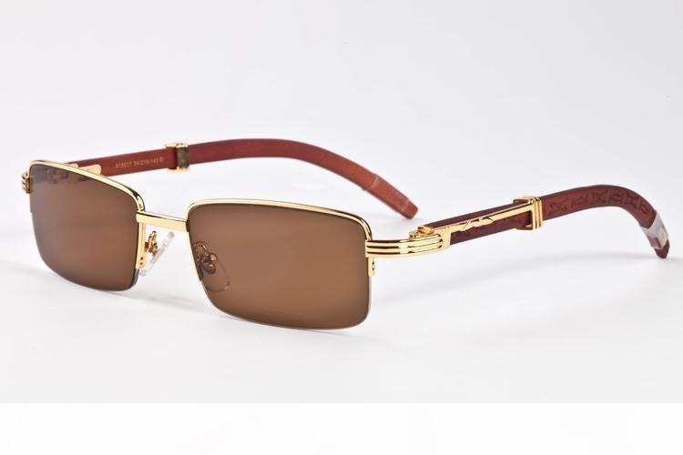 Nuevo 2017 Madera Gafas de sol de mujer de marca diseñador de moda retro del cuerno de búfalo La mitad de la vendimia Marco de los vidrios de Sun de las mujeres de las lentes