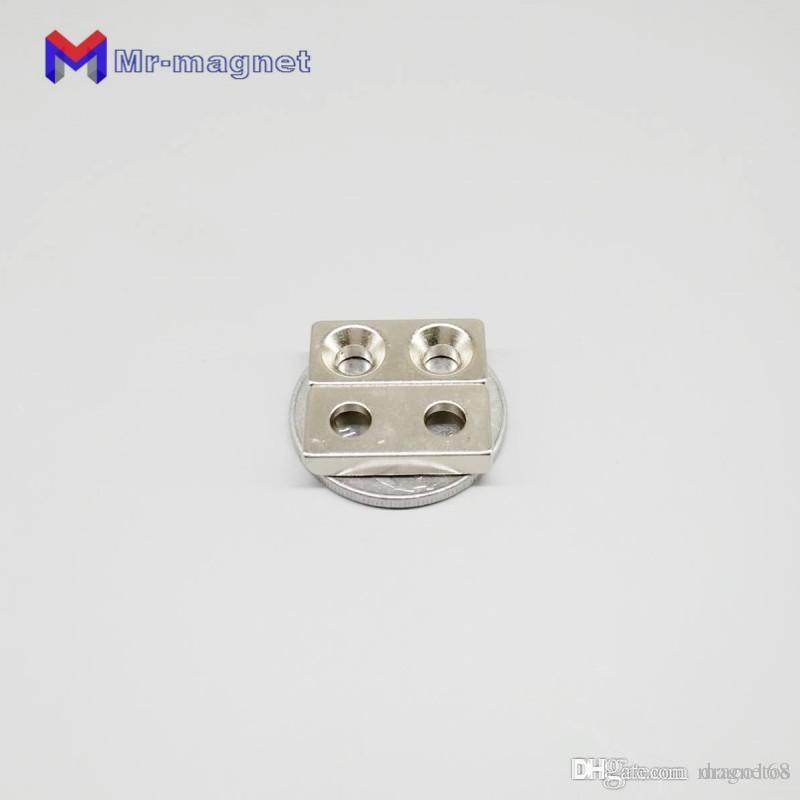 100pcs/lot 20 x 10 x 4mm 5mm Hole N35 Super Strong Rare Earth Ring Block Neodymium Magnet