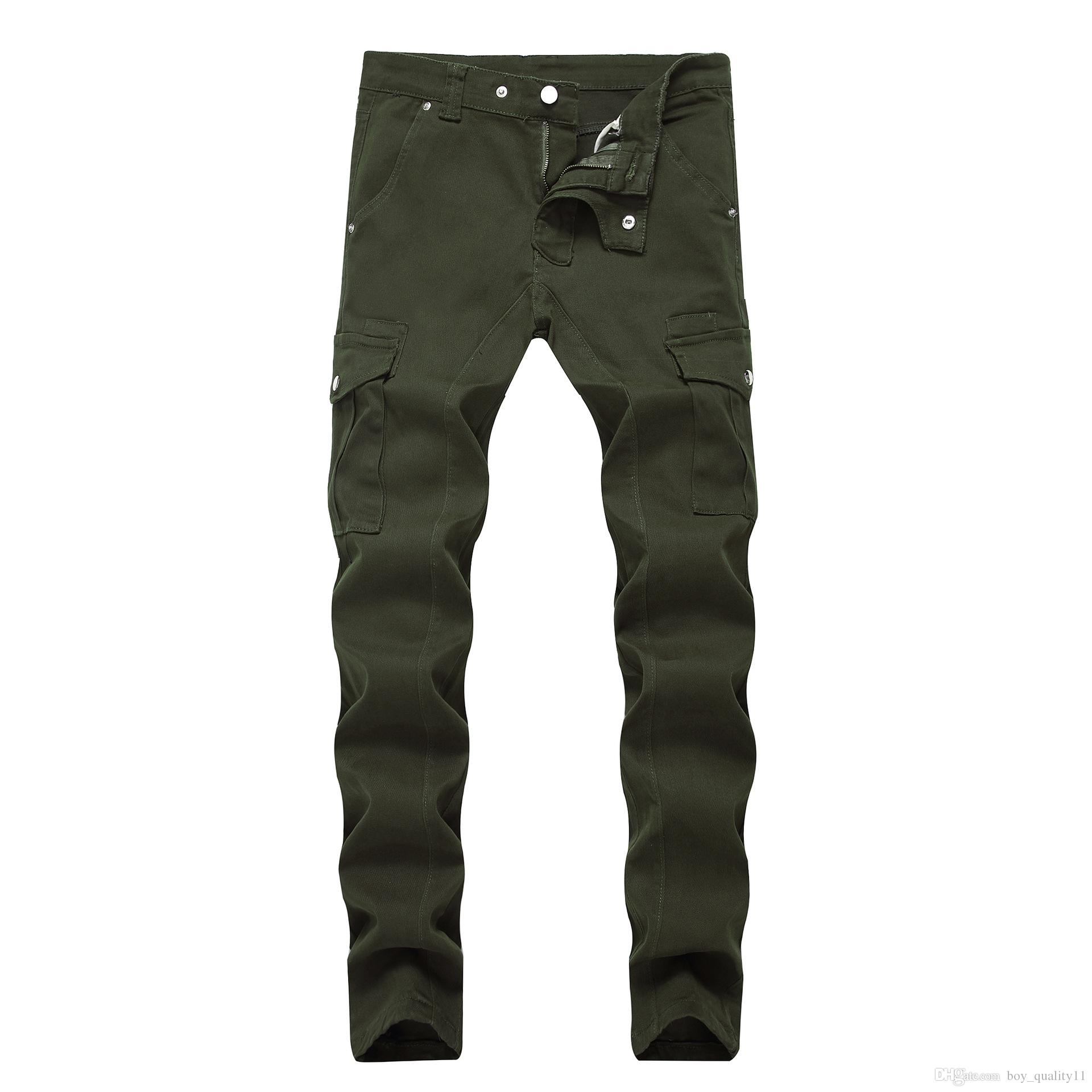 Qersonality Quality Cycling Jeans Ripped Designer Hole Stone Wash Slim Straight Motorcycle Denim Jogging Pants 28-40