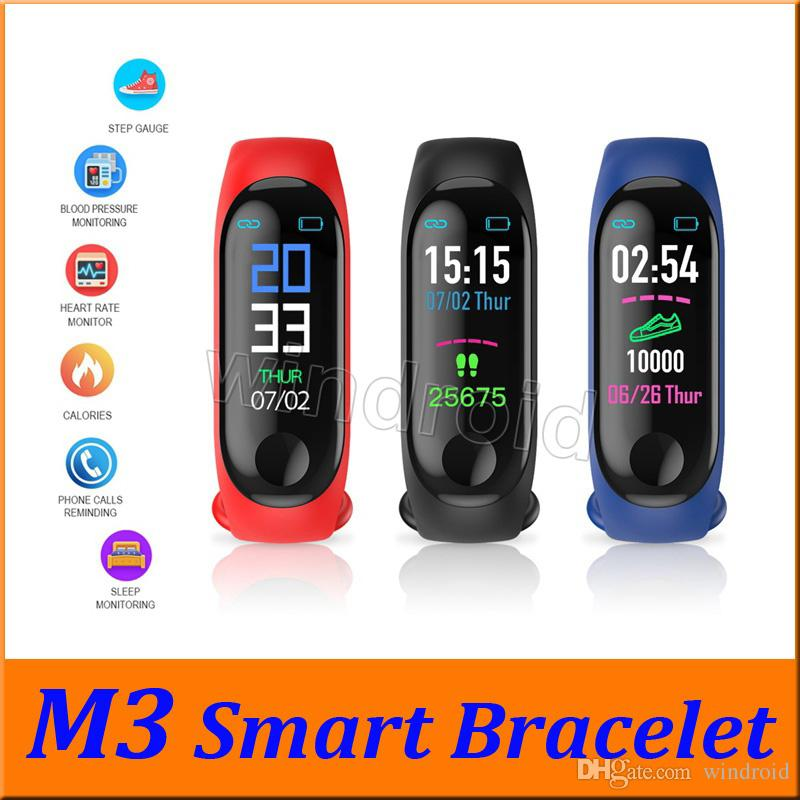 Cheapest M3 Fitness Smart Bracelet IP67 waterproof Heart Rate Monitor Sleep monitoring smartwatch PK Mi Band Wristbands Detachable colorful