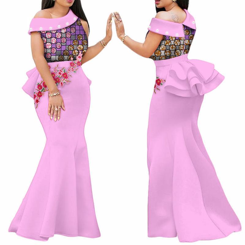 2019 африканские платья печати для женщин Bazin Riche аппликация драпированные длинные платья партии Vestidos традиционная африканская одежда WY444