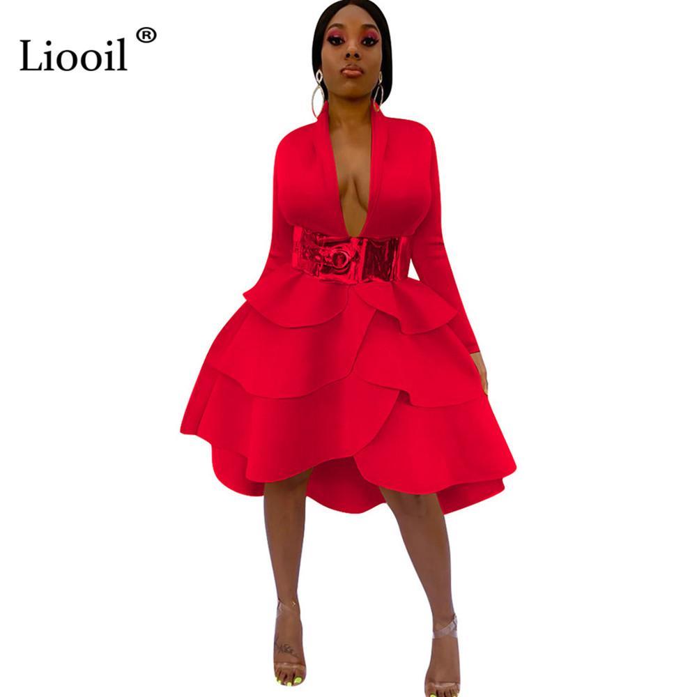 Liooil Seksi fırfır Midi Elbise Kadınlar Kulübü Kıyafetler 2019 Uzun Kollu V Yaka Yüksek Bel Siyah Kırmızı Elbise Kadın Partisi Night Out T200707 Wear
