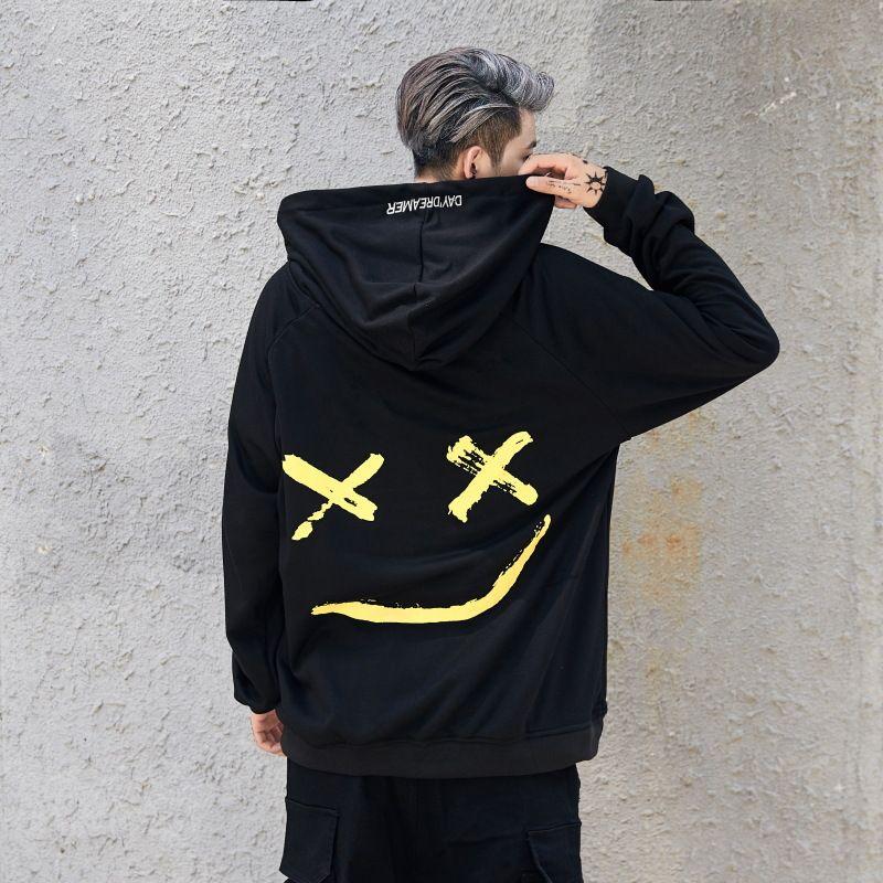 Homens e Mulheres Designer Smale Impresso Hoodie com capuz Moda Casual Hip Hop camisolas para Casais Top Hoodies tamanho S-2XL