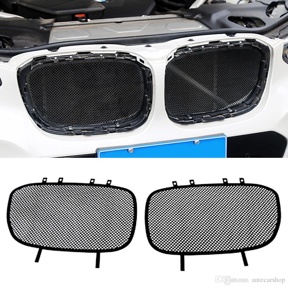 Accessoires voiture Grille avant inoxydable Insert filet anti-insectes étanche à la poussière d'ordures Couverture intérieure nette pour BMW X3 X4 G01 G02 2018-2020