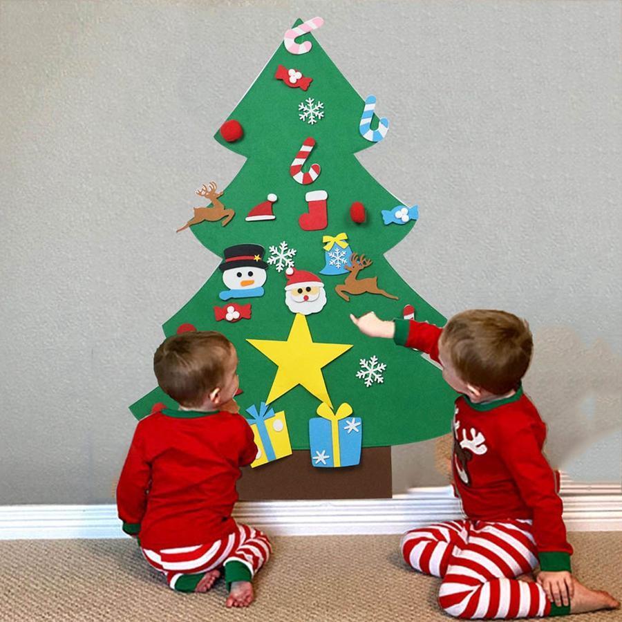 Felt Christmas Tree DIY Felt Creative Xmas Supplies Pendant Kids Puzzle Hand Made Toys Home Christmas Party Decorations RRA2502 Christmas Decorations