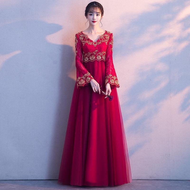 Повседневные платья женские свадьбы платье V-образным вырезом кружева вечером Cheongsam Elegant Prom Maxi банкет Qipao длинное платье Ретро Vestido XS-XXXL