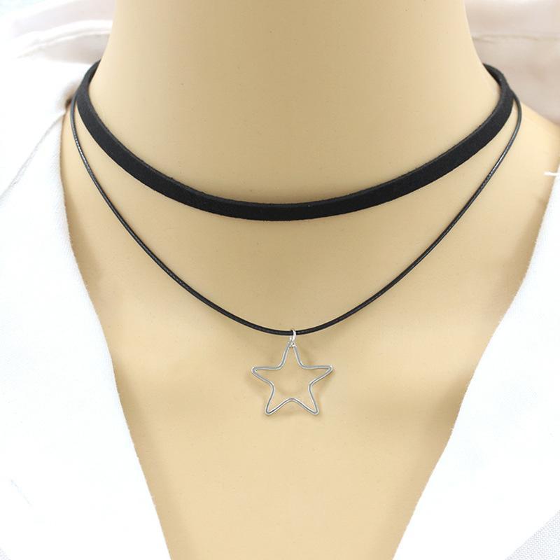 Геометрического ожерелье треугольник ожерелье Pentagram Женщина Rope цепь Дама Подвеска девушка ювелирные изделия Серебро Цвет Модный Сплав ожерелье