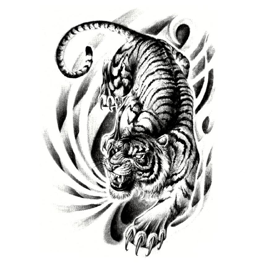 Full Back Large Tiger Down The Mountain Waterproof Temporary Tattoo ...