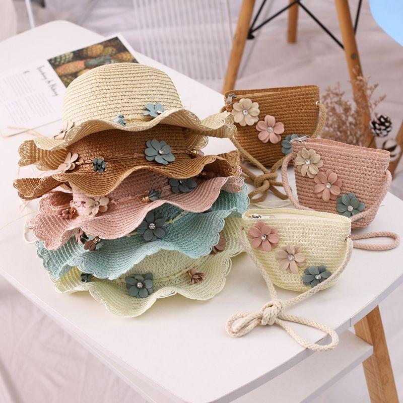 2020 Nouveau été pour enfants chapeaux de paille enfants fleur plage Cap et sac de bébé Photographie Props bébé Hat Sun Visor Caps