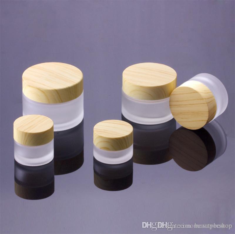 5g 10g 15g 30g 50g 100g Mattglas Sahneglas Hautpflegecreme Pot Holzmaserung Deckel Creme Behälter und Verpackungen Glass