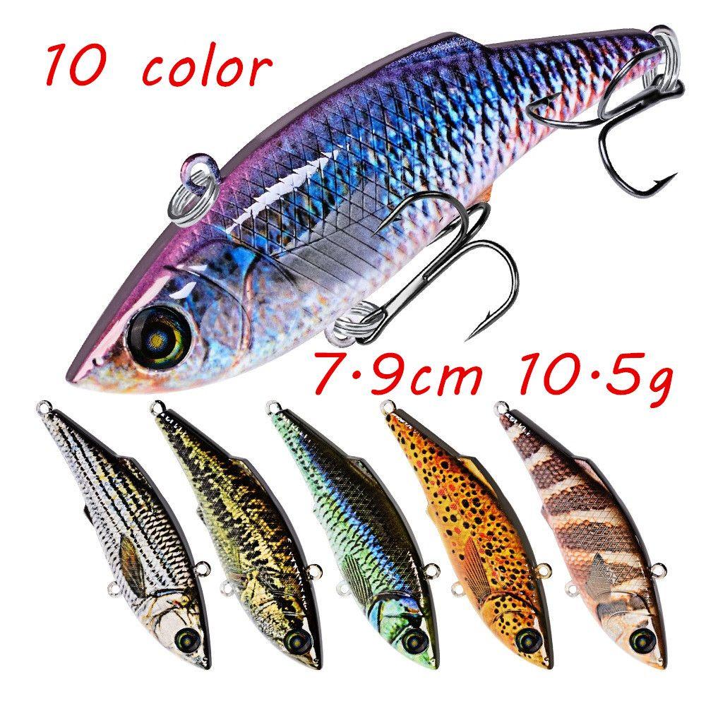 10 di colore 7,9 centimetri 10.5g VIB di pesca richiamo duro esche di plastica esche 6 # amo da pesca Ganci LL-017