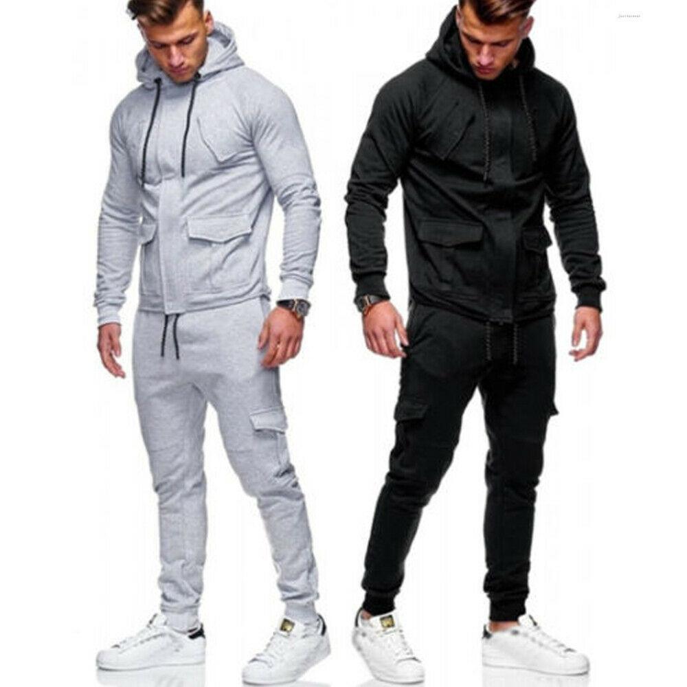 Erkek Sweatsuits Koşu Hoodies Kapşonlu Mont Ceketler Katı Slim Fit Suits Eşofman Pantolon Sweatpants Joggers Erkek Sportwears