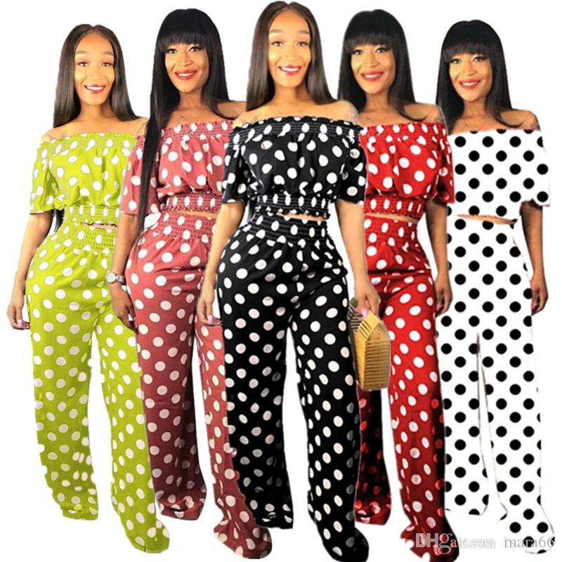 Женская дизайнер костюм горошек 2 шт установить одно плечо лето одежда короткий рукав футболки случайные брюки моды наряд плюс размер 863