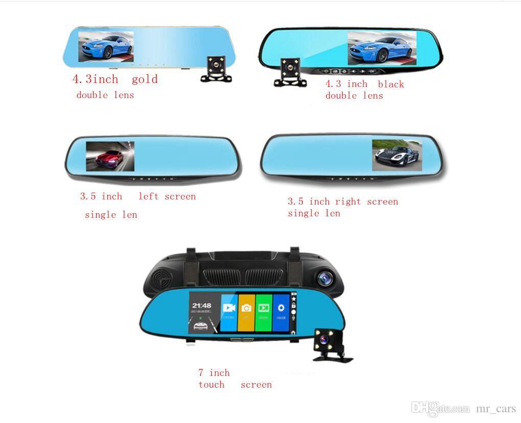 Rück einziges Auto DVR Spiegel-Doppelobjektiv-Kamera treibende Recorder Rückspiegel Dash Cam Video Recorder Zubehör KKA3733