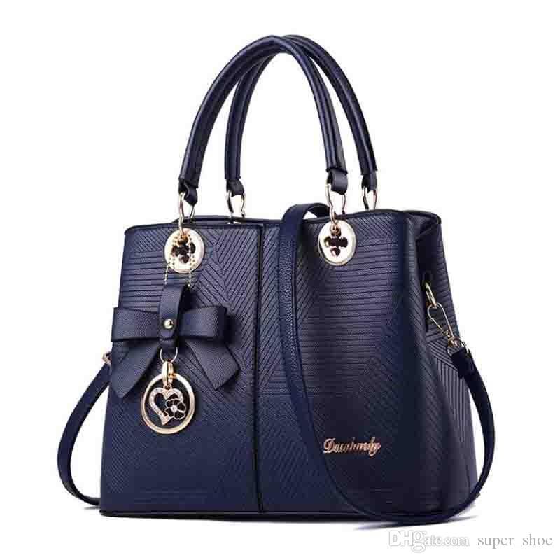 Simple Embossed Lady Handbag Spring And Summer New Fashion Bag OL Single Shoulder Slanting Bag One Hair Substitute Bow #173051