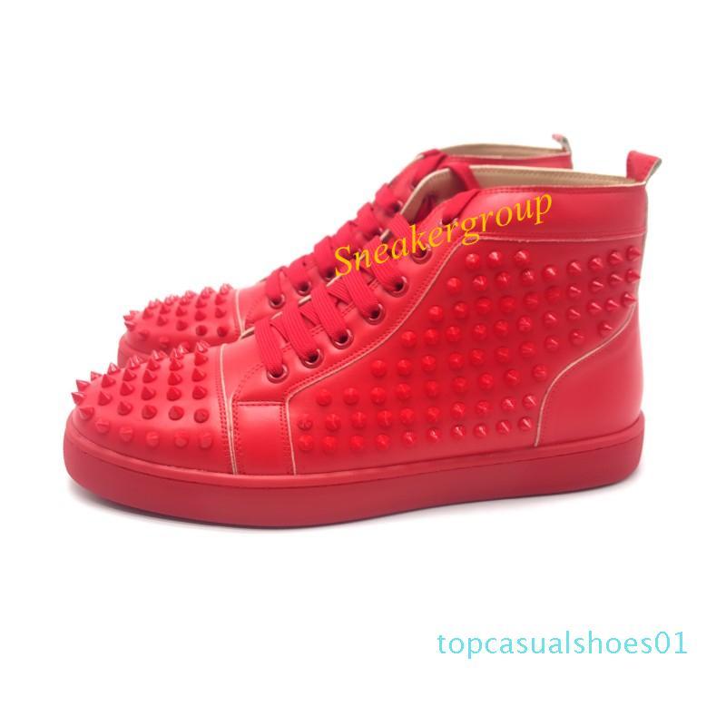 Top Designer Uomini Donne inferiore Red Party brillantini autentico inferiori pattini fissati Spikes appartamenti Moda Scarpe di lusso casuali T01