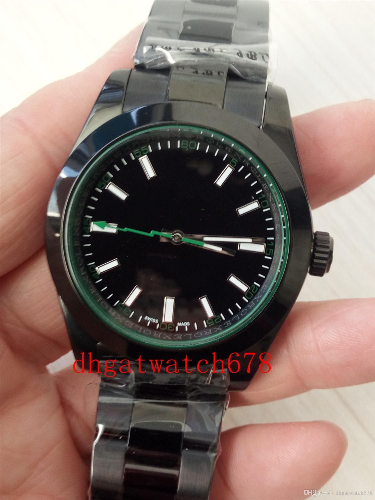 LuxuxMens Armbanduhr-automatische mechanische 116400 Zifferblatt schwarz Voll-Schwarz-Edelstahl-Saphir Hardlex Faltschließe Männer SPORTUHREN
