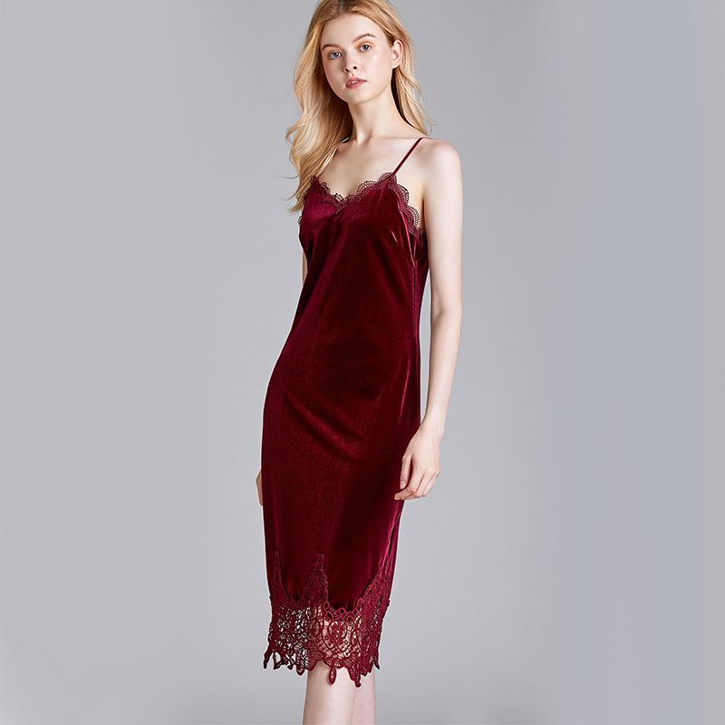 2020 Hot Style de velours Pyjama New Stain SexyLace Femme Printemps Halter Jupe longue style Homewear Nuit Accueil Vêtements