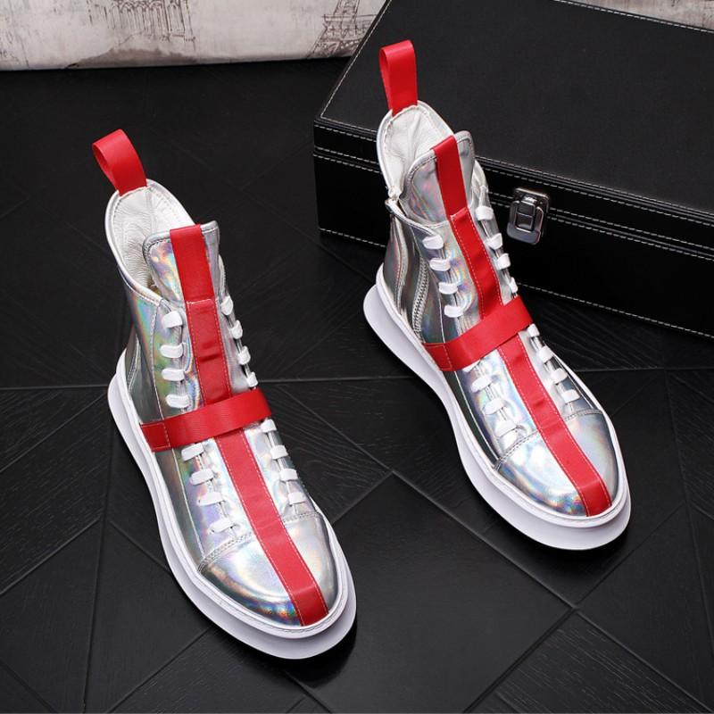 New Breathable Art High-Top-Junior-Männer Casual Schuhe Plattform Plattform Plattform lädt Schuhe lässig Web Berühmtheit Männer 38-44 b55