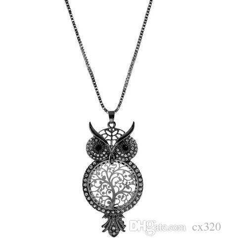 Crystal Sweater Chain colar collier Cute Owl Hollow Out Pendant Necklace Female Tree Of Life Necklaces Jewelry Women