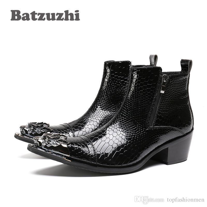 Pop Rock Black Men stivali a punta in pelle Stivaletti Moda autunno le dita dei piedi di ferro Zipper Uomo Uomo Scarpe bota Masculina