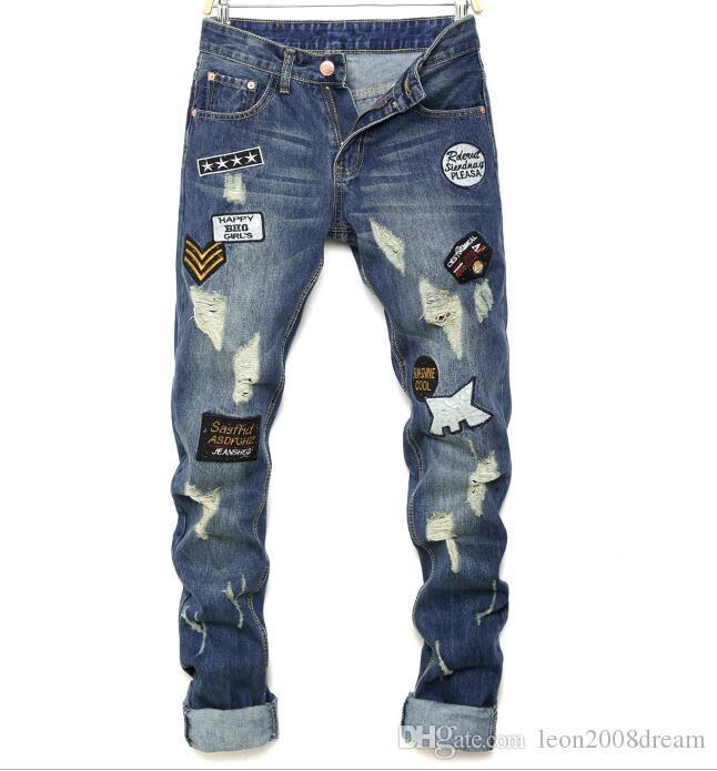 2019 новое прибытие! Европейских и американских мужчин значки стройный отверстие кошка когтями прямо порванные джинсы ..