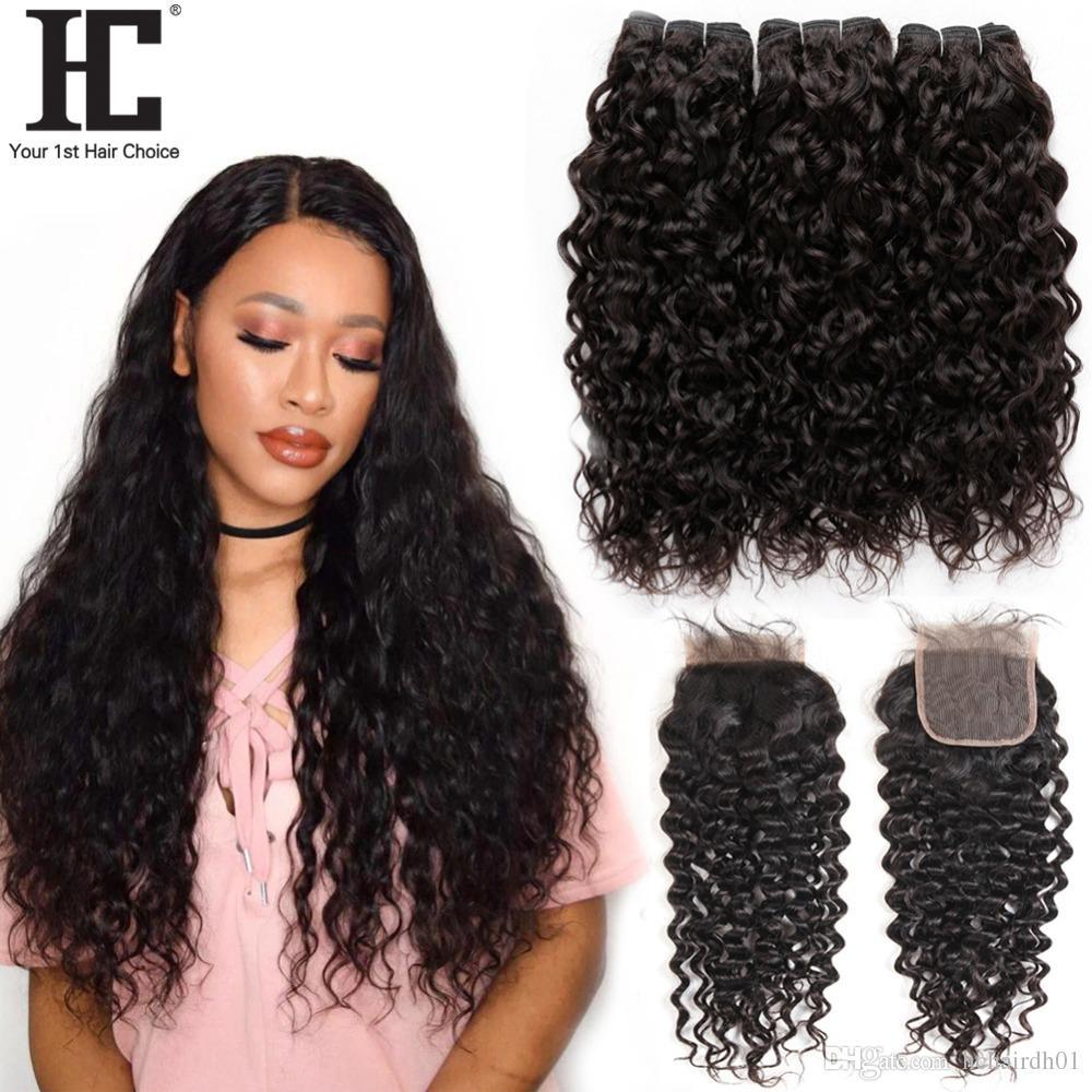 클로저 3 브라질 물 파도가 폐쇄와 젖은 및 물결 모양 버진 브라질 머리카락과 처리되지 않은 버진 머리카락을 번들
