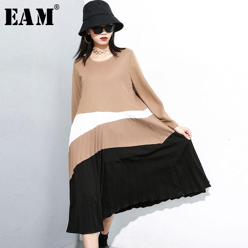 [EAM] Mulheres Contraste Cor plissadas Temperamento Vestido Nova Rodada Long Neck luva frouxo Fit Moda Primavera Outono 2019 19A-A146