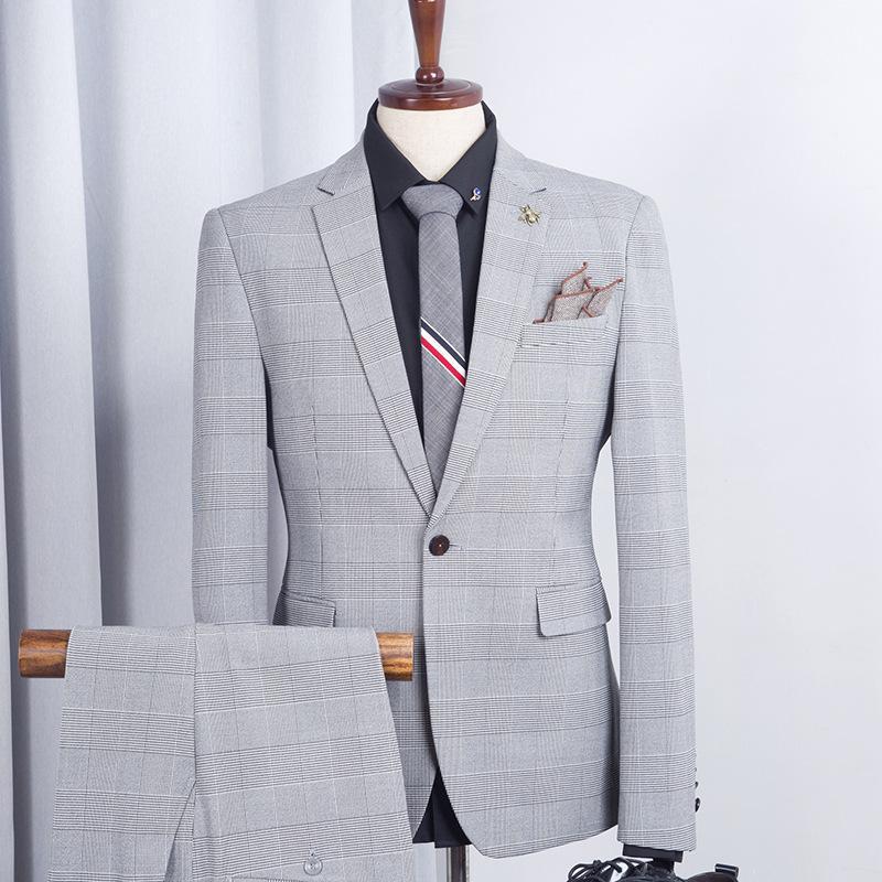 Yelek 3PCS ile Düğün Balo Ceket Pantolon için Gri Biçimsel Erkekler Business Suit Slim Fit Mens Damat Smokin Blazer
