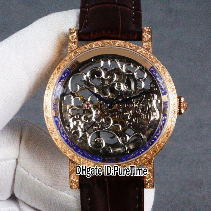 Nouvelle Calatrava 5180 Tourbillon Automatique Mens Watch en or rose Sculpté cas Skeleton cadran bleu Montre homme en cuir brun Montres Puretime E4c3
