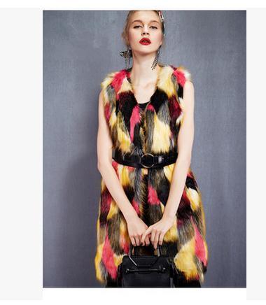 2020 femmes Long Section coloré Artificielle gilet de fourrure de manteaux d'hiver et d'automne Femme Casual fourrure veste sans manches Gilets K439