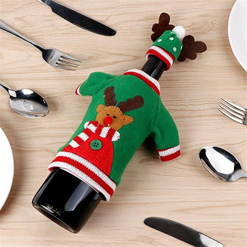 Ugly Xmas Jewelry Pouches Christmas Sweater Wine Bottle Cover Handmade Party Candy Holders Gifts Bags