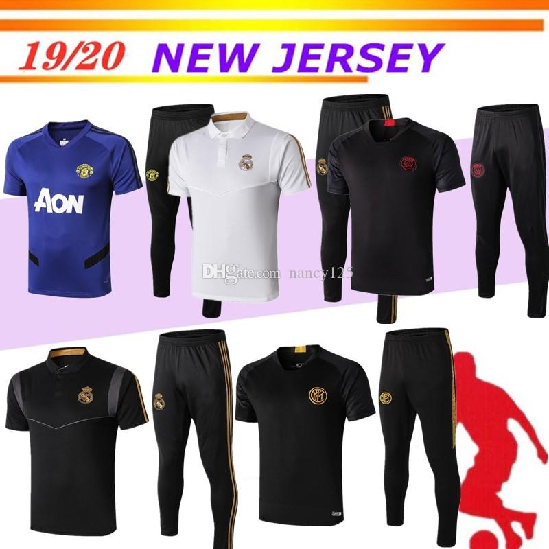Real Madrid Kurzarm Trainingsanzug 3/4 Hosen kit 19 20 psg Chandal Uniformen Maillot de foot Survêtement Fußball Trikots