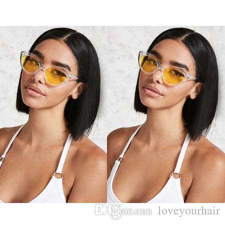 curto bob corte das senhoras beleza estilo peruca Africano Americ cabelo humano estilo curto bob brasileira simulação de cabelo peruca parte do meio