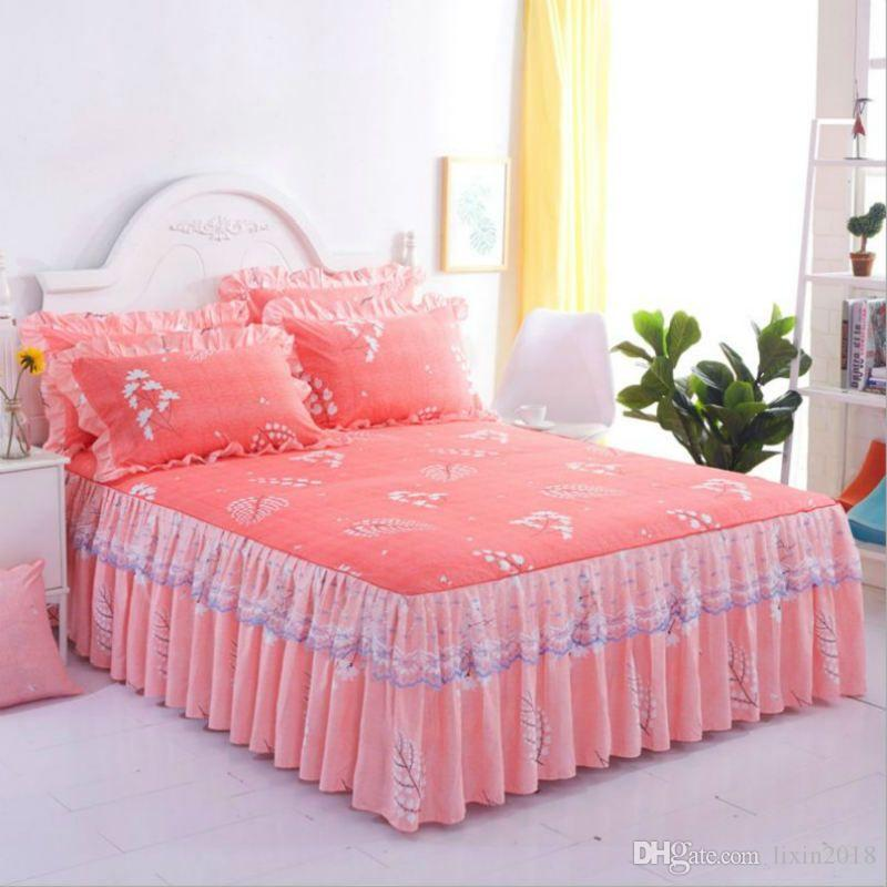 Nordic Romantic Flower Pattern Polyester Ruffled Bedspreads Bed Skirt Queen Bed Covers Bedclothes Sheet bedding set Home Decoration