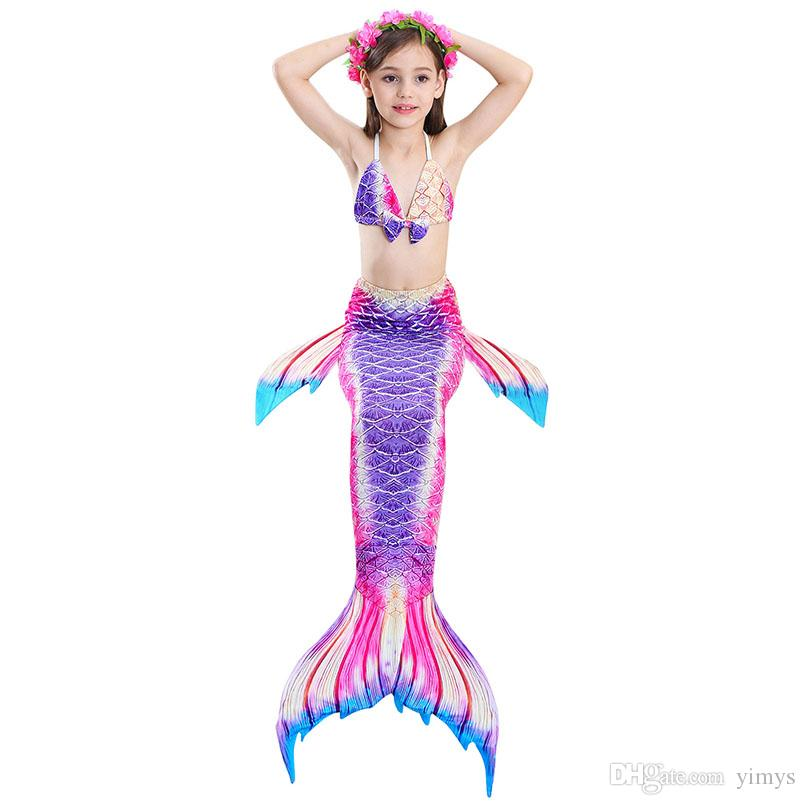 Kids Girls Mermaid Tails Monofin Swimmable Tail Swimwear Swimming Costumes 3pcs