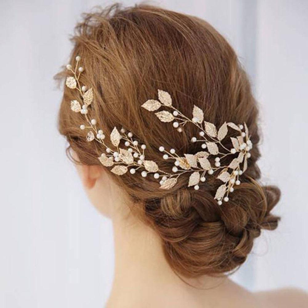 Da sposa clip Gold Leaf Branch perla tornante capelli Tiara copricapo gioielli regalo