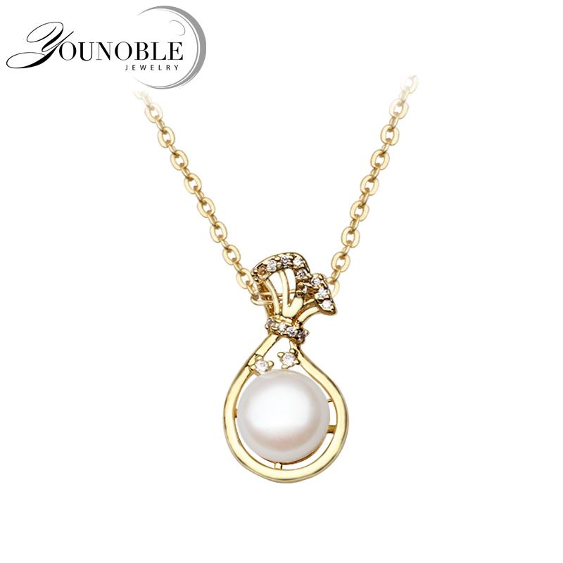 100% Natural Pearl Pendant Necklace Anniversary, 925 Sterling Silver Pendants For Women Fashion Jewelry