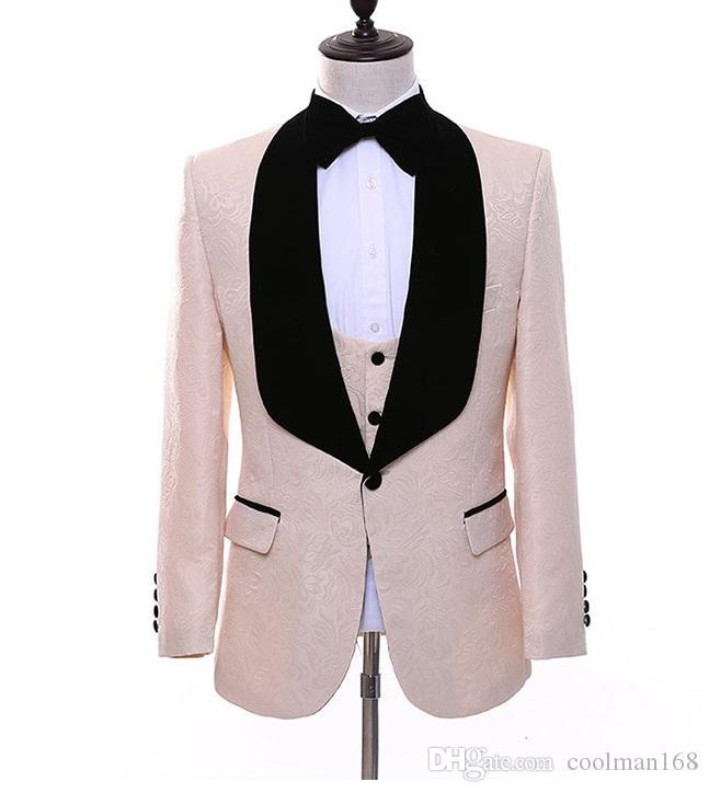 Мода шампанское тиснение жених смокинги Черный Бархат отворотом жених мужчины свадебное платье человек куртка блейзер 3 шт. костюм(куртка + брюки + жилет + галстук