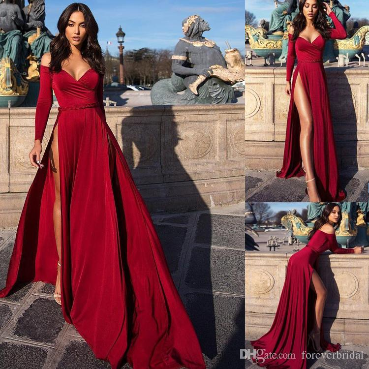 Sexy Burgundy A line Evening Dress 2019 Off Shoulder Long Sleeves Formal Party Prom Dresses High Slit Pageant Gowns Custom Made