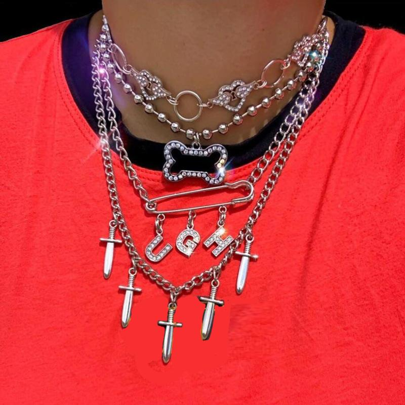 Iced Out Blin Stainless Steel Crystal Bone UGH Letter Wing Heart Choker Necklace for Women Punk Harajuku Girls Collares Mujer