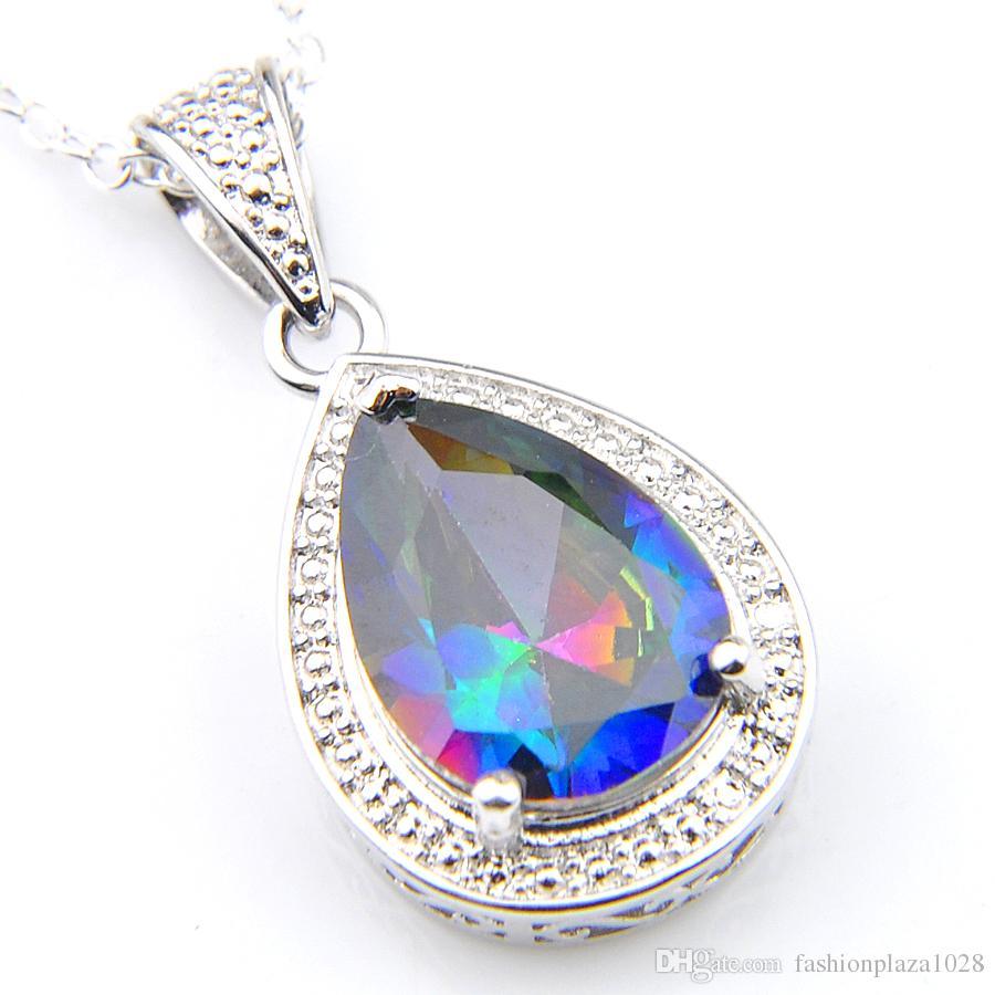2 Farbe Hot 10Pcs Art und Weise 925 Silber Mystic Topaz Gems Charm Regenbogen-Wasser-Tropfen Zirkonia Frauen Halsketten Anhänger mit Kette 10 * 14mm