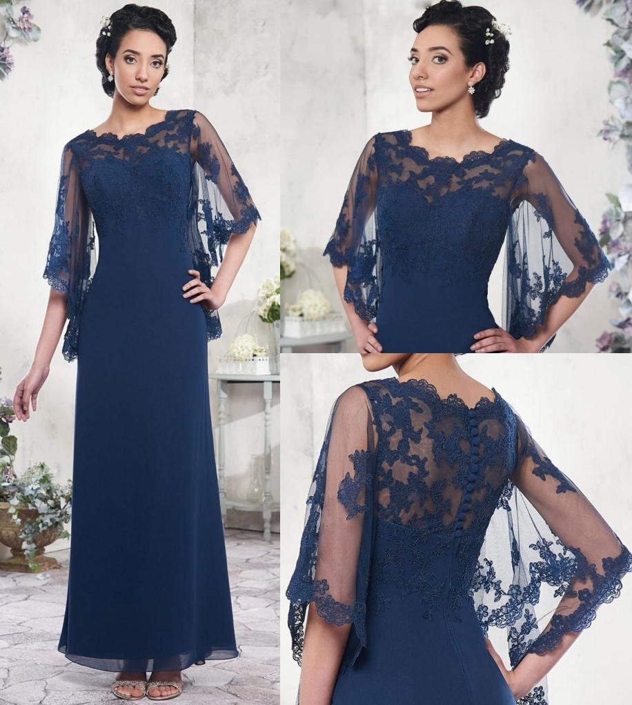 Plus Size Mãe dos Vestidos de Noiva Chiffon Uma Linha Piso Comprimento Vestidos De Noite Marinho Azul Lace Mãe dos Vestidos de Noiva